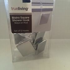 Shower Curtain Hooks Modern Bathroom Plastic Mirror Tile Bistro Square Contemp