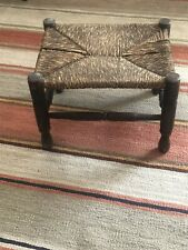 "OKA style Vintage Oak And Weave Foot Stool 14"" x 11"" x 10"""