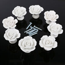 8er Weiss Rose Design Möbelknöpfe Möbelgriffe Möbelknauf MöbelKnopf Deko