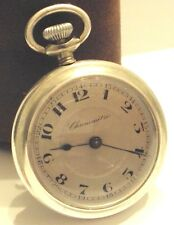 "ANTIQUE ART DECO FRENCH MEN'S POCKET OPEN FACE SILVER PLATED WATCH""CHRONOMETRE"""