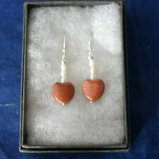Beautiful Silver Earrings With Sunstones And Pearls.3 Cm Long + 925 Silver Hooks