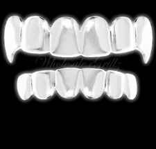 *2ND* Platinum Silver Style VAMPIRE FANG Dracula Teeth Mouth Grillz Fronts Grill
