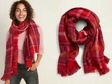 NWT Old Navy Long Flannel Blanket Scarf Wrap Shawl Tartan Pashmina Pink Plaid