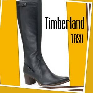 NEW! Women's 5.5 TIMBERLAND TASA Tall LEATHER Boots Stacked Heel BLACK/BROWN Zip