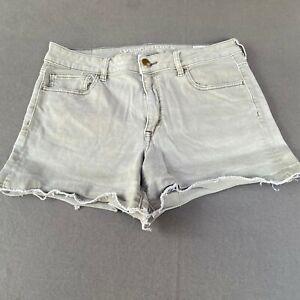 American Eagle Women Size 12 Jean Shorts Raw Hem High Rise Denim - Gray