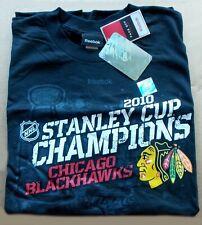 2010 Chicago Blackhawks Hockey STANLEY CUP -- REEBOK Black Mens XL - SHIRT #9133