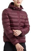 Lyle & Scott Mens Quilt Puffer Jacket Padded Warm Hooded Outdoor Coat Burgundy