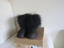 Ugg  Australia Sheepskin Mongolian Hair Fur Cuff boots Women's #1875 Black Sz 5