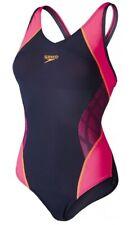 New Womens Ladies Speedo V-Neck Musckeback Swimsuit Swim Swimming Costume Black