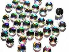 60 AB Effect Acrylic Beads Rhinestone Gems 15 mm Round Flatback SewOn Decorative