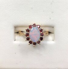 Opal and Garnet Ring-10kt Yellow Gold