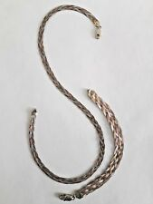 Vintage 925 Silver Rose Gold Plate Braid Chain Necklace Bracelet Italy Jewelry