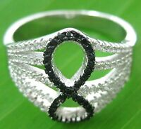 100% REAL 925 sterling silver BLACK + WHITE CZ Infinity Ring size k M O Q - GIRL