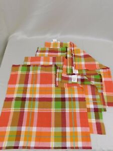 Four Piece Plaid Print Fall Colors 18-Inch Napkins Great for Thanksgiving #5693