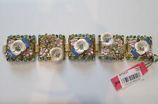 NWT Auth Betsey Johnson Queen Bee Floral Rhinestone Link Wide Statement Bracelet