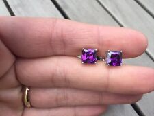 18ct white gold filled  Square Amethyst purple crystal stud earrings Studs