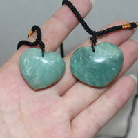 Natural Heart Shaped Green Aventurine Stone Healing Reiki Necklace Fengshui Gift