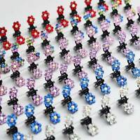 12 PCS Baby Girl lady Crystal Flower Mini Hair Claw Clamp Hair Clip Hair Pins