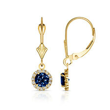 1.25CT Round Blue Sapphire Halo Drop Dangle Leverback Earrings 14K Yellow Gold