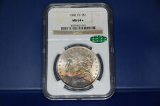 1882-CC Morgan Silver Dollar NGC MS64* CAC PQ rainbow toning WOW!