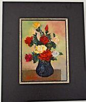 Red Roses in Black Vase Flowers Oil Framed Still Life Painting Signed Antique