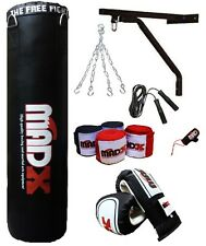 MADX 7 Piece 5ft Boxing Set UNFILLED  Punch Bag Gloves,Chain,Bracket,Kickbag