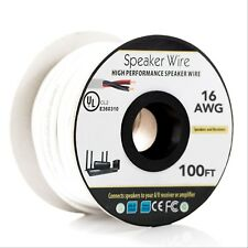 Speaker Wire OFC 100 ft.16AWG 2 Conductor - CL2 Fire Rated - White