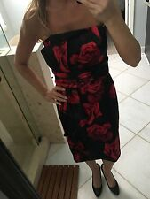 WHITE HOUSE BLACK MARKET Strapless Dress Sz. 6 - Red Roses Black Satin