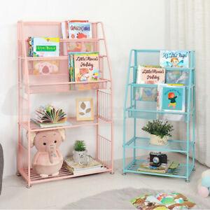 Kids Children Bookshelf Bookcase Book Toy Organizer Storage Display Steel Frame
