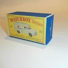 Matchbox Lesney 14 c Bedford Lomas Ambulance empty Repro D style Box