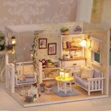DIY Handmade Miniature Dolls House LED Light Wooden My Little Kitten's Play Room