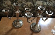 Pair Silver Plate 2 Arm 3 Candle Holder Candelabra Tarnished Leaf Grape
