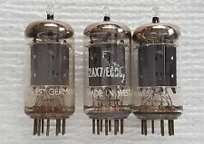 3 Fisher Telefunken 12ax7 / ECC83 Vacuum Tubes : <> Bottom / Smooth Long Plates