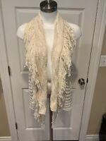 Calypso St. Barth Cream Sleeveless Loose Knit Cardigan Sweater, Size 0