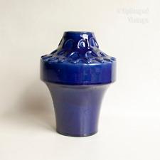 Vintage Cobalt Blue Carstens WEST GERMAN Ceramic 1253-17 UFO Vase by Heinz Siery