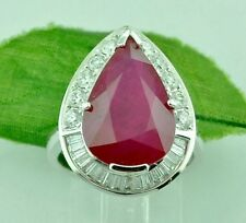 18k Solid White Gold Natural Diamond & Pear Shape Ruby Ring 9.91 ct Cocktail