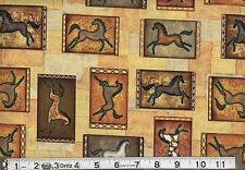 Horses Cave Painting Fabric, 100% Cotton Quilting Fabric Sold BTY