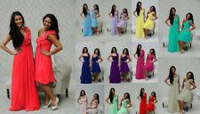 1 Shoulder Chiffon Bridesmaid Wedding Dress Prom Evening Long Short Maxi Party