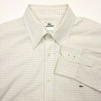 Lacoste White Long Sleeve Button Up Check Plaid Shirt Men's Size 42 Used