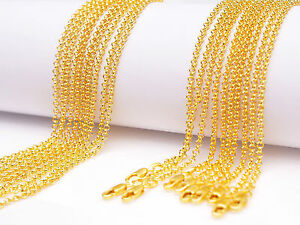 "10Pcs 30"" jewelry 18K Yellow GOLD Filled Pearl Cross CHAIN NECKLACEs For Pendant"