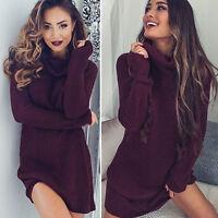 Winter Autumn Women Top Loose Long Hoodie Sweatshirt Mini Dress Pullover Sweater