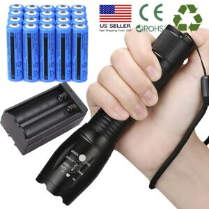 Ultrafire 990000Lumens Focus Zoomable LED Flashlight + Battery + Smart Charger
