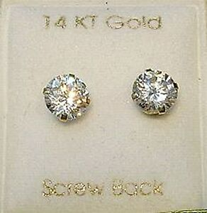 New 14kt Gold 6mm DIA Stud Earrings w/ Ball Backs