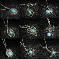 Women Vintage Tibetan Silver Turquoise Bib Crystal Pendant Long chain Necklace