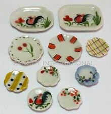 10-Piece Dollhouse Miniature Ceramic Plate Set Doll Mini Food Dish Tray Lot c52