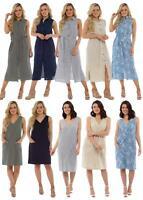 Ladies Undercover Linen Summer Sleeveless Shift or Button Front Dress