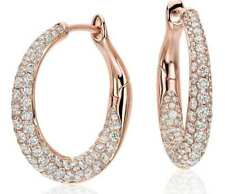 Stunning Pave 1.80 Cts Natural Diamonds Hoop Earrings In Solid Hallmark 18K Gold