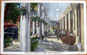 1941 Postcard: 'Majestic Hotel Porch - Lake Charles, Louisiana LA'