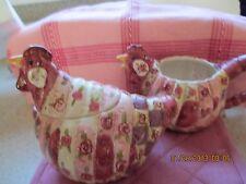 Rooster ~ Rose Patchwork Cream & Sugar Set