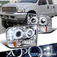99-04 Ford F250 F350 F450 F550 Super Duty LED Halo Projector Headlights Clear